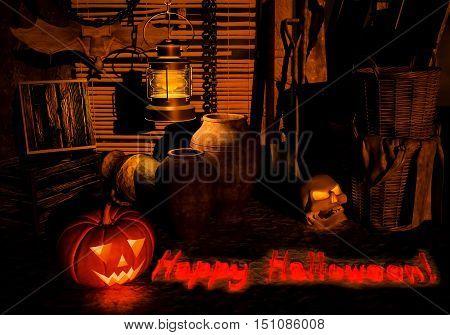 Halloween on the old thrown farm. 3D illustration