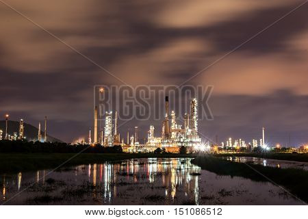Oil refinery industry soft focus,Glow light of petrochemical industry on sunset.