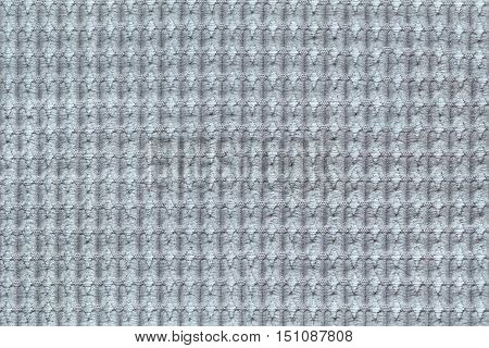 Steel gray background from soft fleecy fabric close up. Texture of textiles macro.