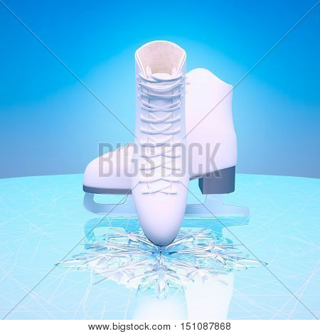Ice skates and snow with reflection. 3D illustration