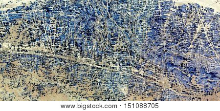 Blue Maze in the African desert, a tribute to Pollock and abstract expressionism, abstract landscapes of deserts of Africa from the air, abstract lines, intersecting lines,