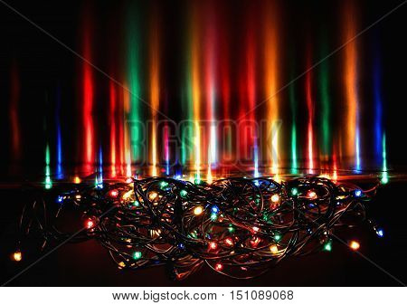 Abstract christmas background xmas texture from color lights for Christmas tree.