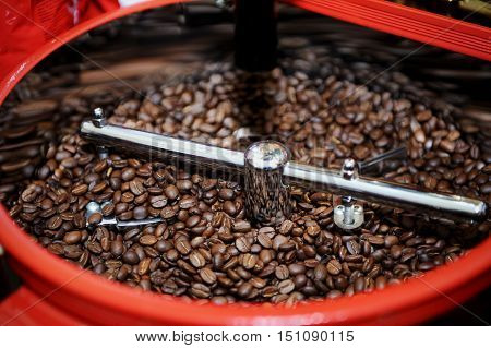 Roasted Coffee Beans In A Coffee Roaster