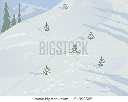 Green landscape. Mountain winter scene concept. Outdoor background with snow hill trees and  blue sky. Daylight valley scenic view. Flat design for banner. Cartoon style. Vector Illustration