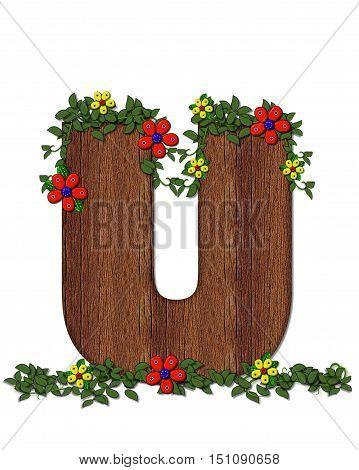 Alphabet Woodland Flowers U