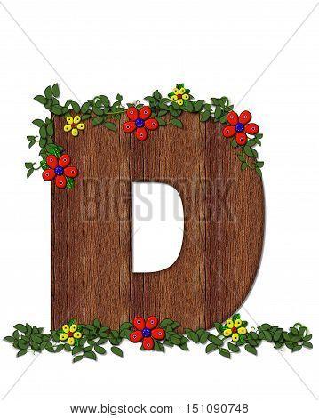 Alphabet Woodland Flowers D