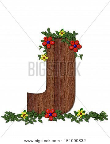 Alphabet Woodland Flowers J