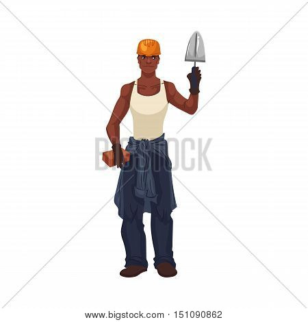 Full length portrait of young and handsome African bricklayer with trowel, cartoon style vector illustration isolated on white background. Black skinned bricklayer holding a trowel and a brick