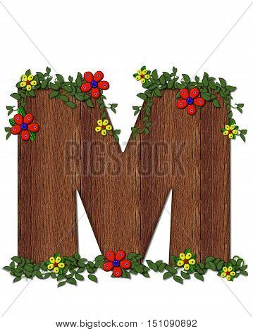 Alphabet Woodland Flowers M