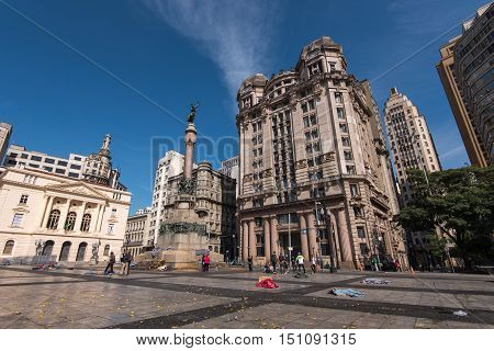 Sao Paulo, Brazil - June 26, 2016: Padre Manuel da Nobrega square in the city center. It is the famous courtyard that where the city started from.