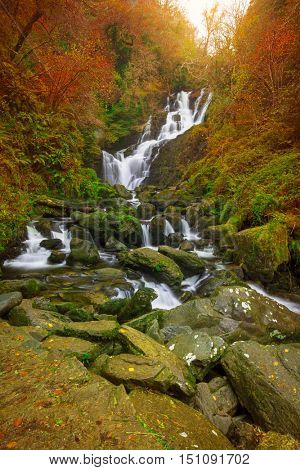 Torc waterfall at autumn in Killarney National Park, Ireland