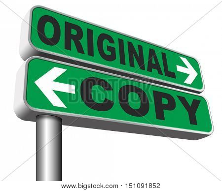 original idea or copycat originality cheap and bad copy or unique top quality product guaranteed road sign  3D illustration, isolated, on white