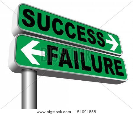 success or failure being successful or fail choose right road or direction make important decision and take a risk in business 3D illustration, isolated, on white