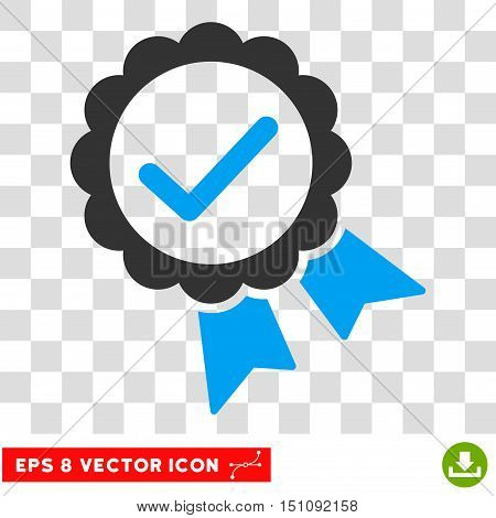 Vector Approve Stamp EPS vector pictogram. Illustration style is flat iconic bicolor blue and gray symbol on a transparent background.