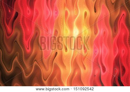 Abstract colorful waves on black background. Fantasy swirly fractal texture in orange yellow pink and red colors. Digital art. 3D rendering.