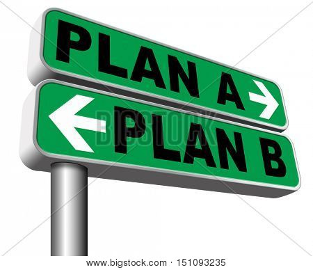 plan a plan b backup plan or alternative option 3D illustration, isolated, on white