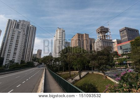 Empty Street in Sao Paulo City Downtown