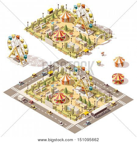Vector isometric low poly amusement park