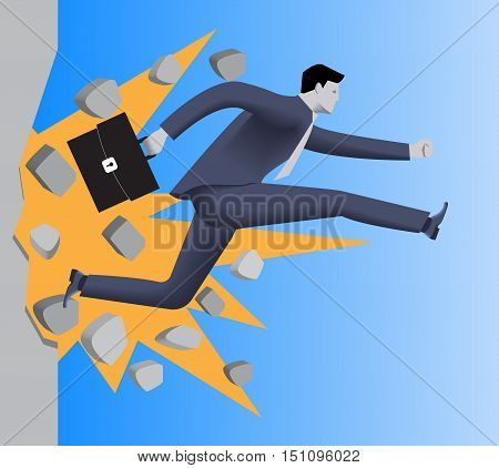Breaking the wall business concept. Confident businessman in business suit with case runs and breaks the wall on his way