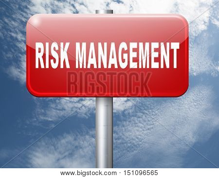 Risk management insurance and safety to assess avoid risks 3D illustration