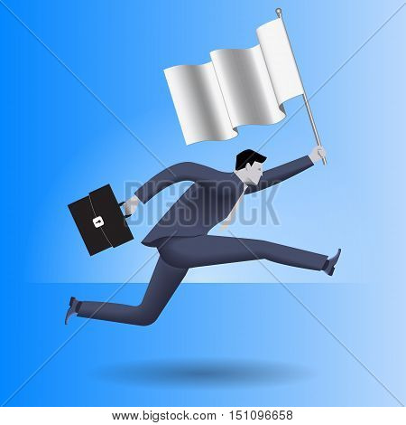 Carrying the flag business concept. Confident businessman in business suit with case in one hand and flag in other runs as fast as can. Leadership concept