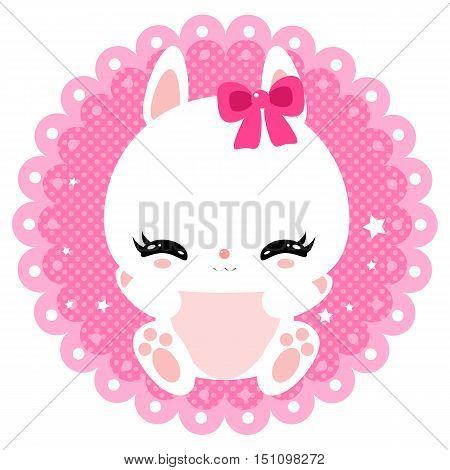 Cute little bunny on a gentle pink background. Newborn. Greeting card. Children design.