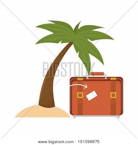 travel suitcase accessory and palm tree over white background. vector illustration