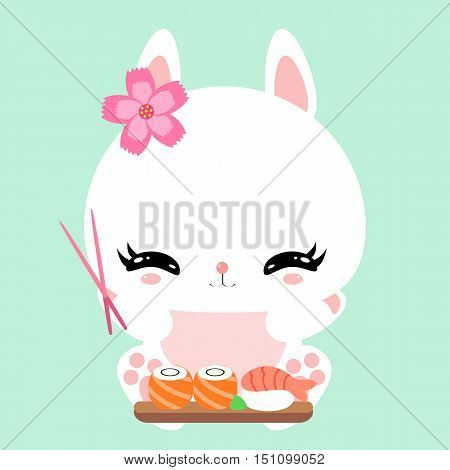 Cute little bunny in asian style with chopsticks. Sushi. Japanese food. Rolls. Children's character.