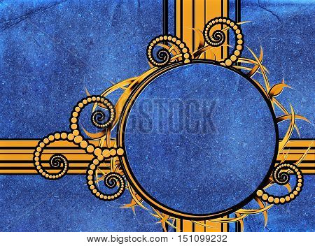 Abstract blue retro background with round gold frame