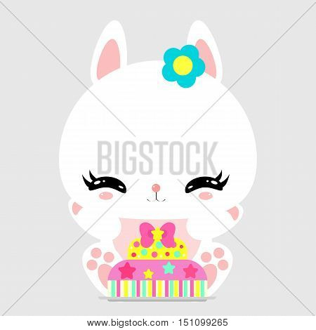 Cute little bunny sweet cake. Birthday. Gift. Greeting card. Children's character.