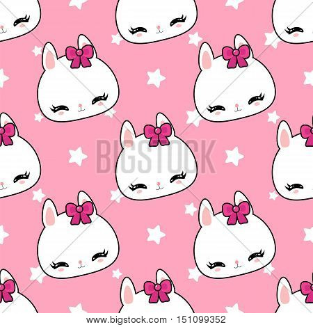 Little cute bunny pattern. Children's wallpaper. Funny character.