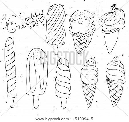Set of Ice cream - sketched isolated icecream on white background with vintage texture