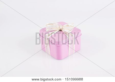 The gift box tired with ribbon clipping path
