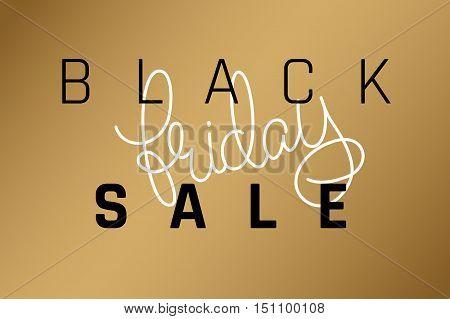 vector illustration Black Friday sale lettering poster on a gold background.