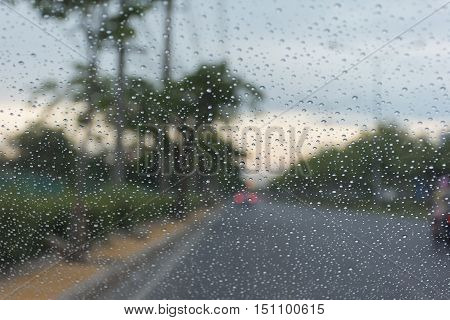 Car Windscreen Glass And Rain Water Drops