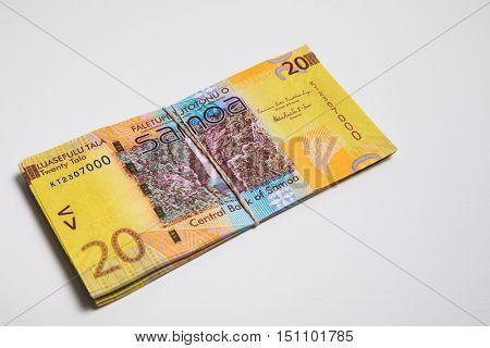 Samoa Tala bank notes isolated on white