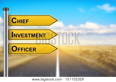 CIO or Chief investment officer words on yellow road sign with blurred background