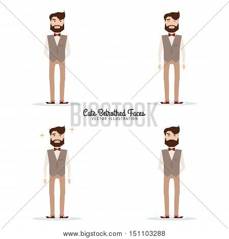 Abstract handsome Betrothed on a white background with a particular expression faces