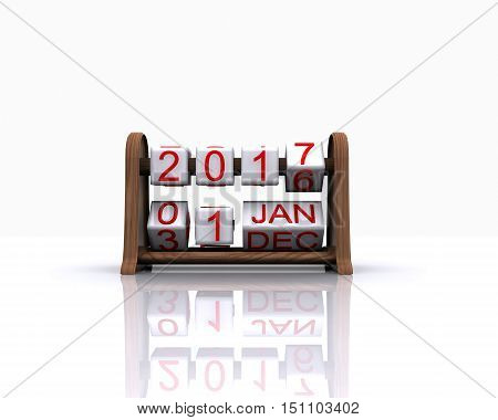 Here comes the new year 2017 - 3D