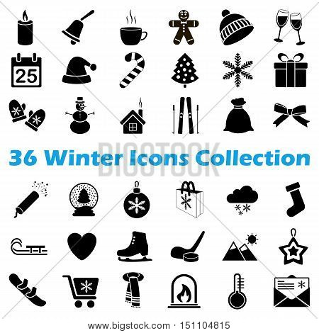 Vector black winter icon collection on white background