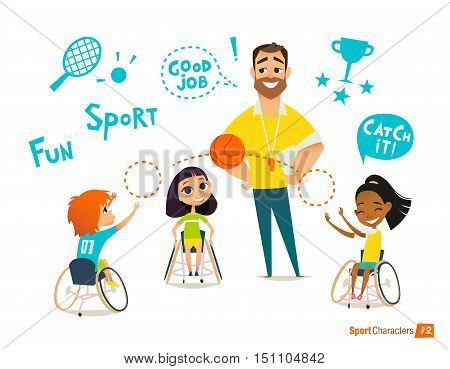 Handisport. Handicapped Kids. Boys and girls in wheelchairs playing baseball. Coaching handicapped young sportsmen's. Medical rehabilitation. Vector Illustration.