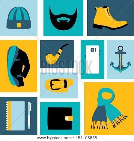 Vector illustration set of fashion accessories and style men clothing and shoes