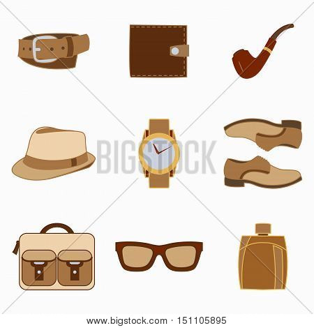 Vector illustration set of fashion accessories and style men clothing and accessories