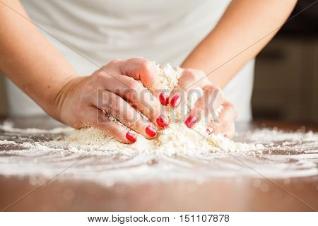 Making Shortcrust Pastry Dough By Woman's Hands