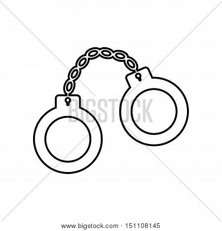 Handcuffs outline icon on the white background. Vector design