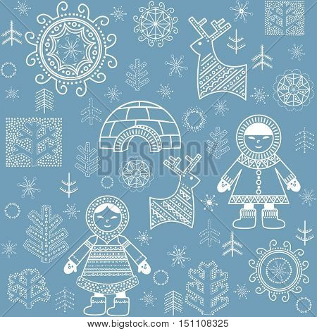 Winter blue abstract wallpaper with inuit, reindeers, firs and igloo