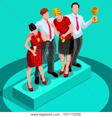 Business concept infographic vector design. Businessperson 3D character flat ambitious man. Job ambition changing role winning Startup group training goal setting and team management illustration