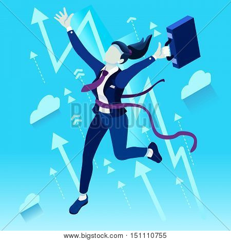 Business concept infographic vector design. Businessperson 3D character flat ambitious woman. Job ambition changing role winning Startup group training goal setting and team management illustration