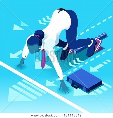 Business concept infographic vector design. Businessperson 3D character flat ambitious woman. Job ambition changing role. Winning Startup group training goal setting and team management illustration