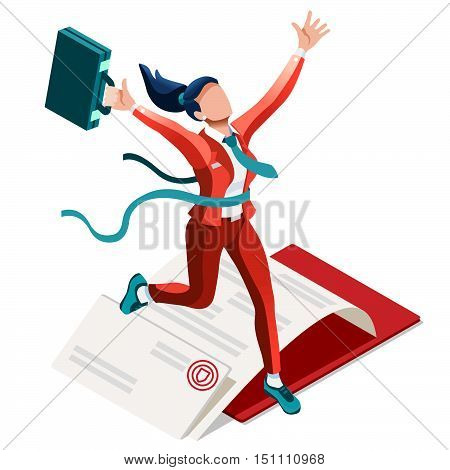 Business concept infographic vector design. Businessperson 3D character flat ambitious woman. Career ambition changing role winning Startup group training goal setting and team management illustration